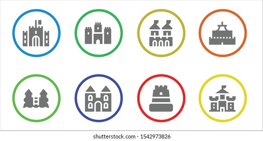 stronghold icon set. 8 filled stronghold icons.  Collection Of - Castle, Fortress icons