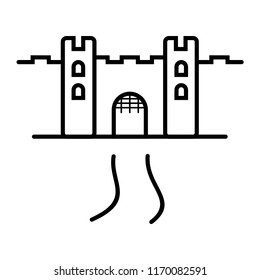 Stronghold. Vector flat outline icon illustration isolated on white background.