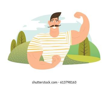 Strongman athlete showing bisep cartoon vector illustration.