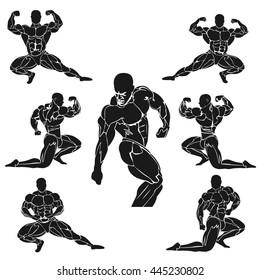 strongman, bodybuilding concept, set, vector illustration