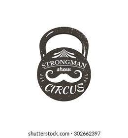Strongman logo, circus illustration