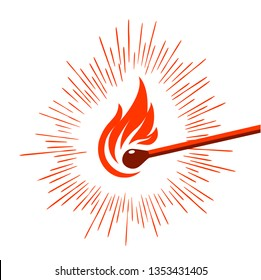 struck wood stick match lighted red flame on white background ignited with graphic luminous red lines
