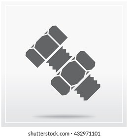 Structural bolt with a hex nut. Flat icon of graphical symbol of fasteners. Vector illustration