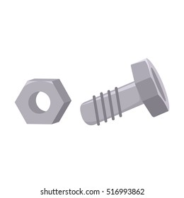 Structural bolt and hex nut icon in cartoon style isolated on white background. Build and repair symbol stock vector illustration.