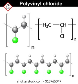 Structural chemical formula and model of polyvinyl chloride molecule, 2d & 3d vector, isolated on white background, eps 8