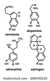 Structural chemical formulas of hormones-adrenaline, serotonin, dopamine, estrogen. Stock vector.
