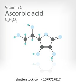 Structural formula of Vitamin C. Vector molecular structure of Ascorbic acid.