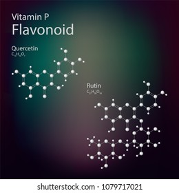 Structural formulas of Vitamins P. Vector molecular structure of Flavonoid (Quercetin and Rutin)