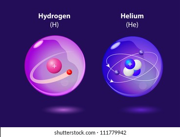 structure atom Helium and Hydrogen. Vector