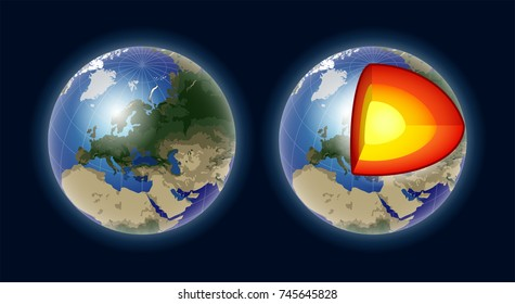 Structure of the Earth core - modern vector realistic isolated illustration on dark background. Geography, cartography concept. Perfect as visual aids, presentations. Use this clip art for lessons