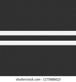 Structure of granular asphalt. Road background with Asphalt texture. Asphalt texture with two white line road marking. Abstract road background. Stock vector illustration