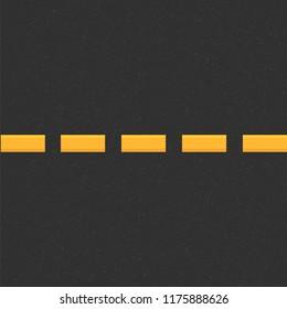 Structure of granular asphalt. Road background with Asphalt texture. Asphalt texture with yellow line road marking. Abstract road background. Stock vector illustration