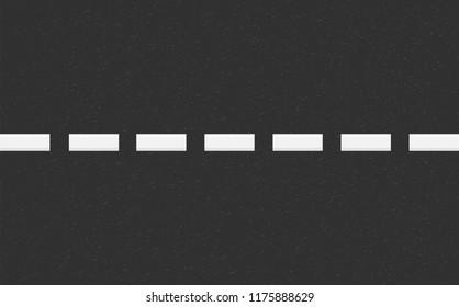 Structure of granular asphalt. Road background with Asphalt texture. Asphalt texture with white line road marking. Abstract road background. Stock vector illustration