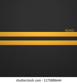 Structure of granular asphalt. Road background with Asphalt texture. Asphalt texture with two yellow line road marking. Abstract road background. Stock vector illustration