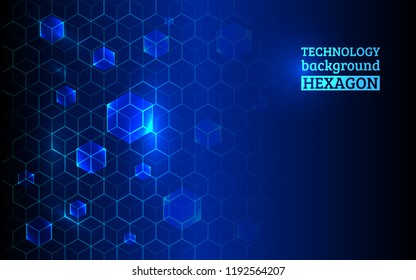 Structure hexagon and communication elements. Hi-tech background for science, technology, medicine. Technology geometric minimal design.