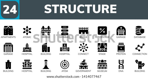 structure icon set 24 filled structure stock vector royalty free 1414077467 https www shutterstock com image vector structure icon set 24 filled icons 1414077467