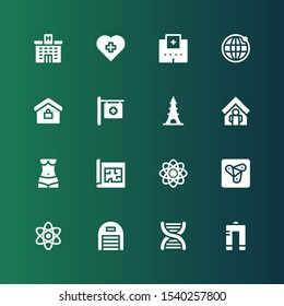 structure icon set. Collection of 16 filled structure icons included Metal, Dna, Garage, Science, Anywhere, Atom, Blueprint, Human body, Home, Eiffel tower, Hospital, Real estate