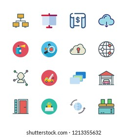 structure icon set. vector set about networking, factory, entrance and cloud computing icons set.