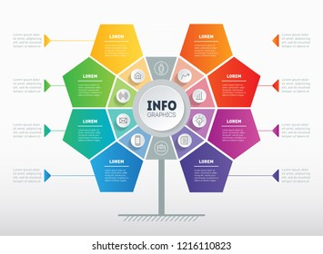 Structure of interaction. Business presentation or infographics with 8 options. Web Template of tree, info chart or diagram. Vector info graphic of technology or education process with 8 steps.