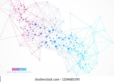 Structure molecule and communication. Dna, atom, neurons. Abstract polygonal structure with connecting dots and lines. Medical, technology, chemistry, science background. Vector illustration