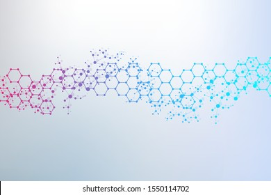 Structure molecule and communication. Dna, atom, neurons. Scientific concept for your design. Connected lines with dots.