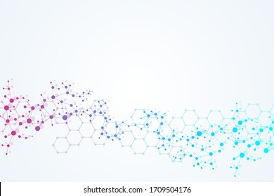 Structure molecule and communication. Dna, atom, neurons. Scientific concept for your design. Connected lines with dots. Medical, technology, chemistry, science background. Vector illustration.