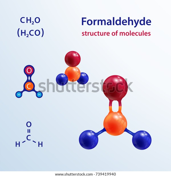 Structure Molecules 3 D Formaldehyde Formalin Stock Vector