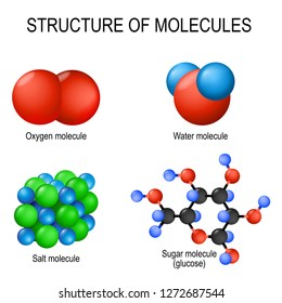 Structure of molecules. Oxygen (gas), water (liquid), salt (solid) and sugar (glucose). set of different options for combining atoms into  molecules. Vector illustration for biological, science use