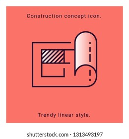 Structure paper icon. Construction plan symbol in vector line style. Architecture banner with structure plan icon on coral background. Building concept, strategy, plan, planning. Engineering concept.
