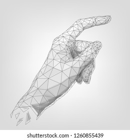 Structure polygonal human hand, index finger, wireframe robot palm