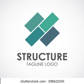Structure square of blocks abstract vector and logo design or template construction business icon of company identity symbol concept