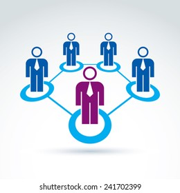 Structure symbol with silhouettes of people standing in circles. Teamwork vector illustration, people relationship icon, conceptual connection sign.