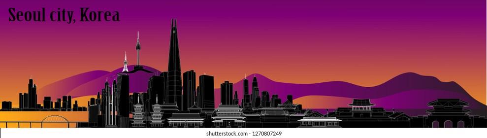 Structure vector Seoul city, Korea