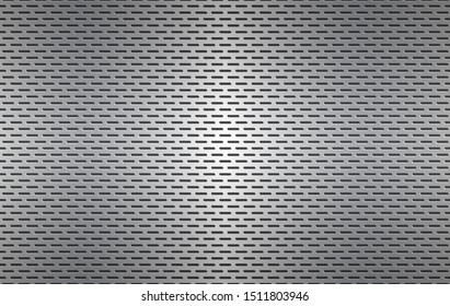 Structured silver perforated metal texture, aluminium grating, abstract metallic background, vector illustration