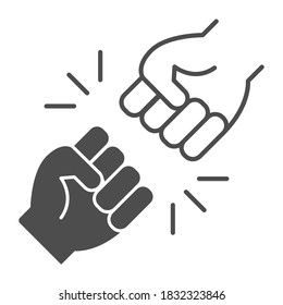 Struggle between whites and blacks thin line icon, Black lives matter concept, BLM racial fight sign on white background, One fist kick another icon in outline style for mobile. Vector graphics.