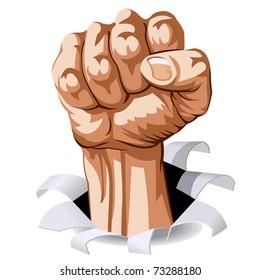 Struggle Hand break Through White Background. Vector Illustration
