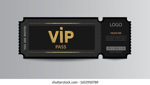 Stub black VIP admission ticket stub template with golden glittering VIP sign.