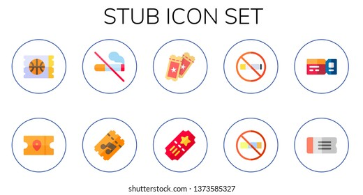 stub icon set. 10 flat stub icons.  Simple modern icons about  - ticket, no smoking, tickets