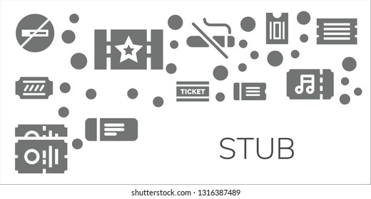 stub icon set. 11 filled stub icons.  Simple modern icons about  - No smoking, Ticket