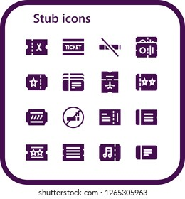 stub icon set. 16 filled stub icons. Simple modern icons about  - Ticket, No smoke, Tickets, No smoking