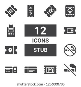 stub icon set. Collection of 12 filled stub icons included No smoking, Ticket