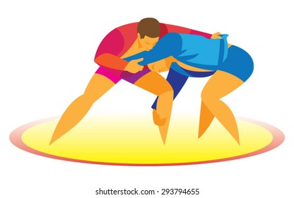 a stubborn duel between two sambo wrestlers on the carpet