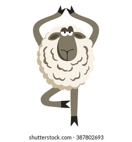 Stubborn Lamb in Yoga Tree Pose. Sheep character. Vector illustration of stubborn sheep doing yoga tree-pose isolated on white background