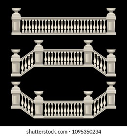 stucco railings, marble, stone, antique, with flower beds. Vector, Illustration
