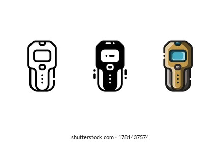 Stud finder icon. With outline, glyph, and filled outline style