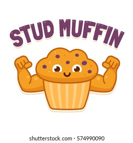 Stud Muffin, funny illustration. Cute cartoon muscular muffin flexing biceps.