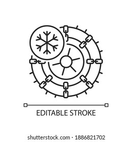 Studded tires and chains linear icon. Lifehack for auto owner in winter. Moving on car when snows. Thin line customizable illustration. Contour symbol. Vector isolated outline drawing. Editable stroke