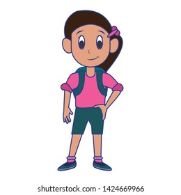 Studen girl greeting with backpack cartoon vector illustration graphic design