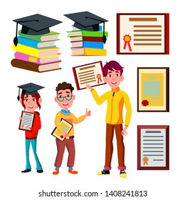 Student Academic Qualification Certificate Vector. Character Young School Boy And Girl Holding Qualification Degree Diploma. Graduate Cap On Stack Books. Education Flat Cartoon Illustration