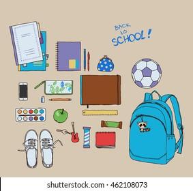 Student bag. Vector hand-drawn sketch.